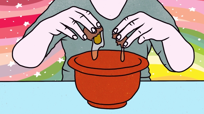 teen cracking egg into a bowl