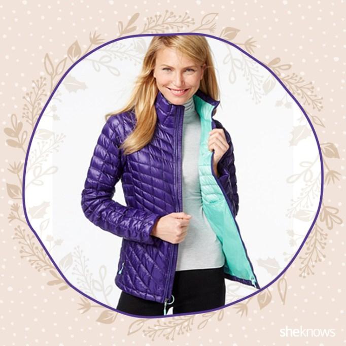 Purple puffer coat