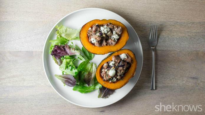 Sausage-stuffed kabocha squash for a simple