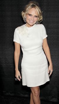 Kristin Chenoweth at Fashion Week wearing Pamella Roland