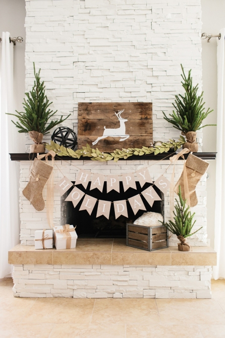 Fireplace with rustic Christmas decor