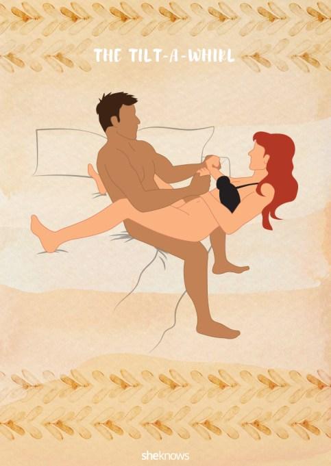Tilt-a-whirl sex position illustration