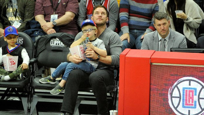 Chris Pratt Takes Son to NBA