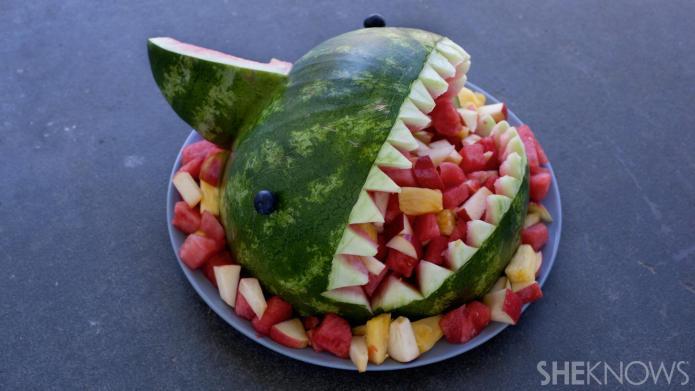 Fruit-filled watermelon shark bowl... It's easier