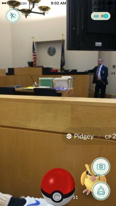 Pokémon in a courtroom