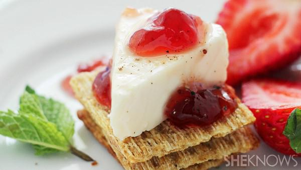 Strawberry jam cheese wedges and tea