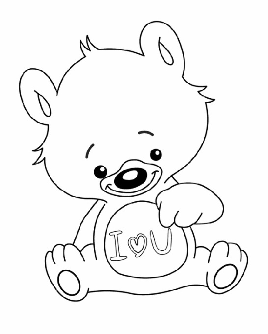 Valentine's Day Coloring Pages: 'I love you' bear