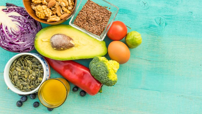 Display of low-carb foods on aqua