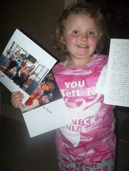 Honey Boo Boo showing off more fan mail in February 2013