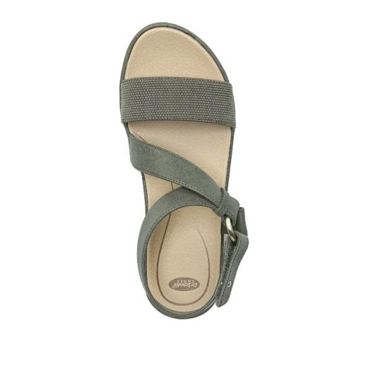 Olive green strappy flat sandal