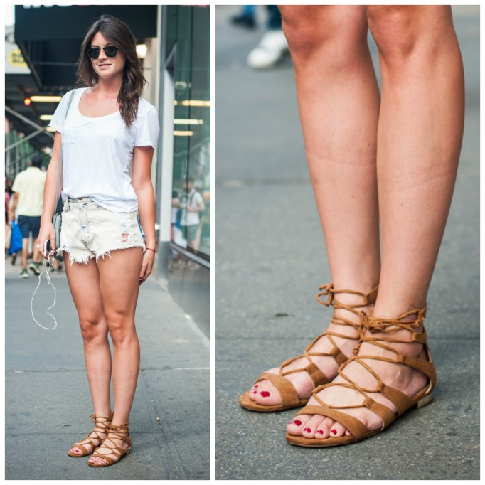 Brown lace-up sandals