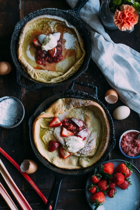 Strawberry Rhubarb Dutch Baby Pancake