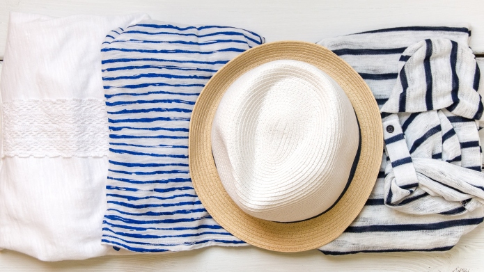 Summer vacation clothes and a hat
