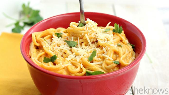 Red pepper and butternut squash pasta
