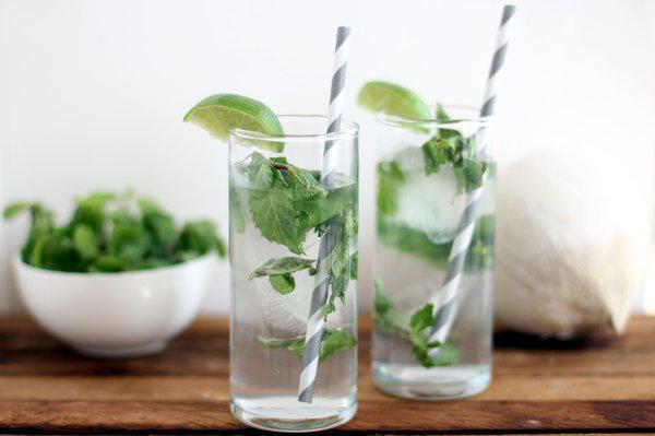 Refreshing organic coconut mint cooler