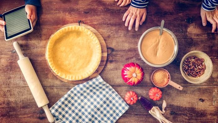 Little Girls preparing homemade pumpkin pie
