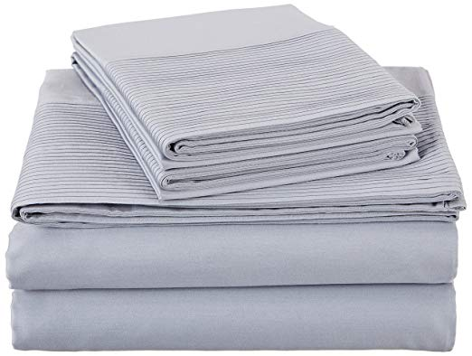 Pinzon by Amazon 400-Thread-Count Egyptian Cotton Sateen Pleated Hem Sheet Set