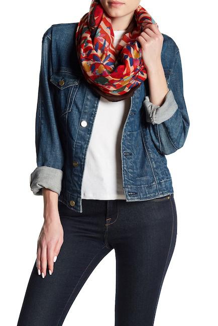 Ways to Wear an Infinity Scarf | Natasha Accessories striped floral infinity scarf