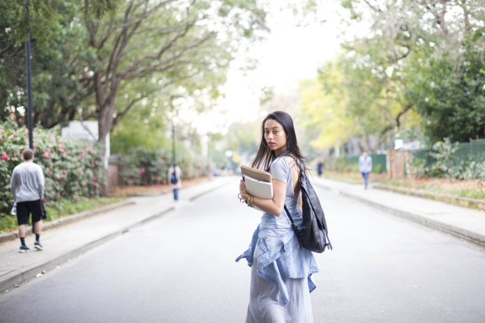 University college student on walking with