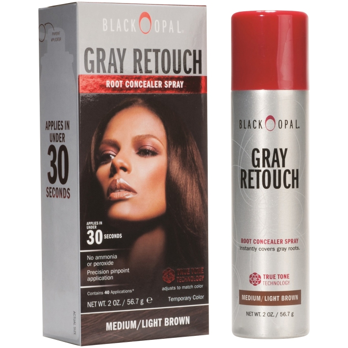 The Best Drugstore Root Dyes: Black Opal Gray Retouch Root Concealer Spray | SheKnows Hair Color 2017