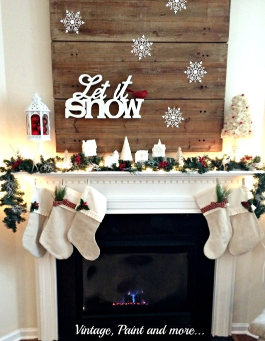 """""""Let it snow"""" fireplace holiday decor"""
