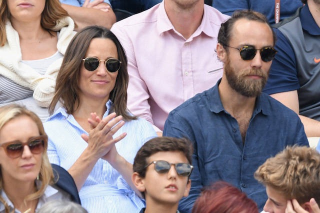 Pippa Middleton and James Middleton attend day nine of the Wimbledon Tennis Championships