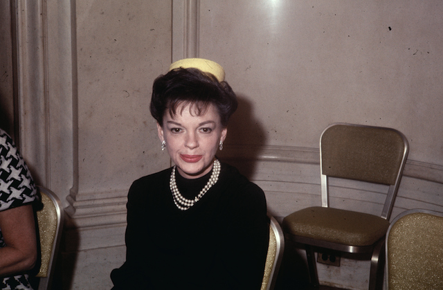 Judy Garland at press conference to announce she will be participating in the filming of Jacqueline Susann's book, Valley of the Dolls.