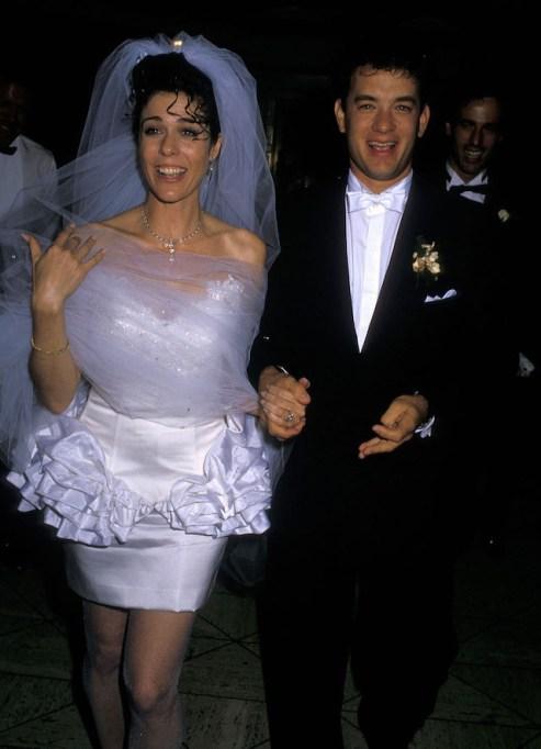 Rita Wilson and Tom Hanks attend their wedding reception