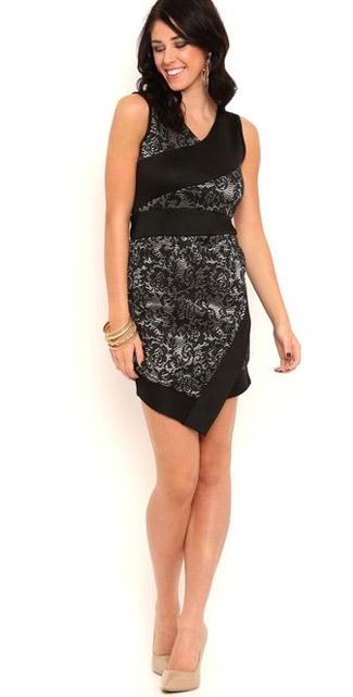 Lace spliced bodycon dress