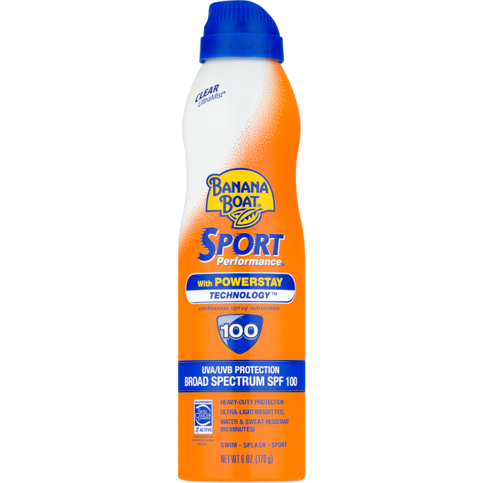 Banana Boat Sport Performance continuous spray sunscreen, SPF 100