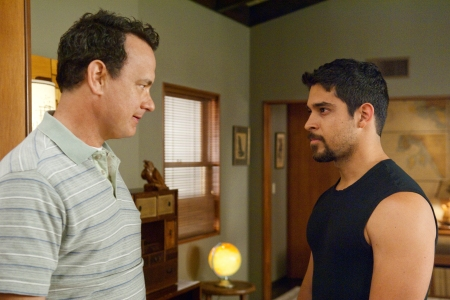 Tom Hanks and Wilmer Valderrama in Larry Crowne
