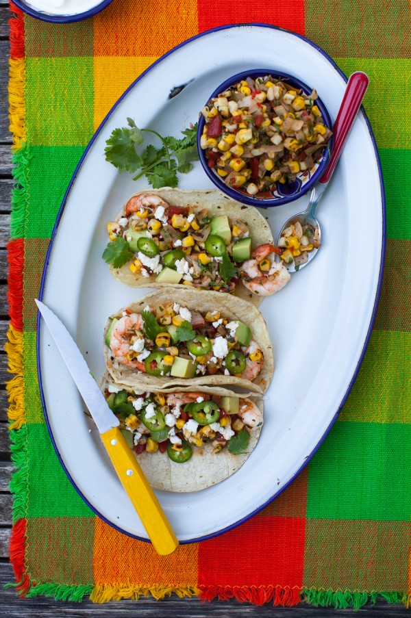 Grilled shrimp tacos with charred corn salsa