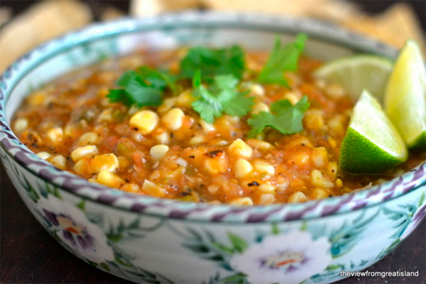 Fire roasted tomatillo and corn salsa