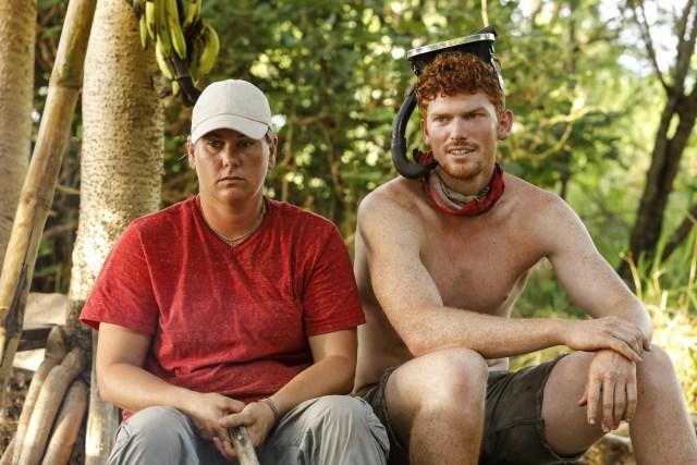 Lauren Rimmer sits with Patrick Bolton on Survivor: Heroes Vs. Healers Vs. Hustlers