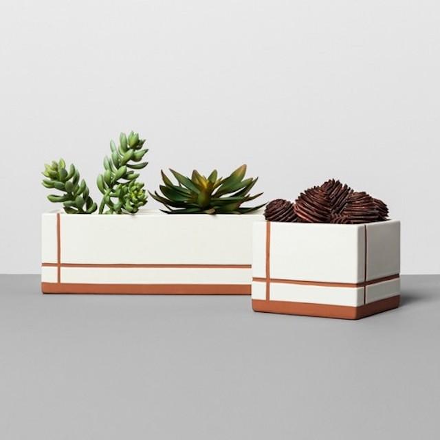Stoneware square terracotta planter magnolia