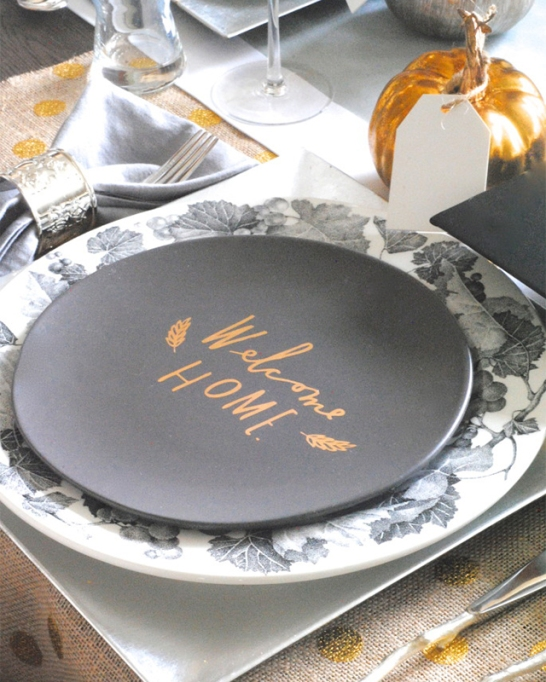 18 Homemade Thanksgiving Table Ideas That Even the DIY-Challenged Can Manage: Silver and gold