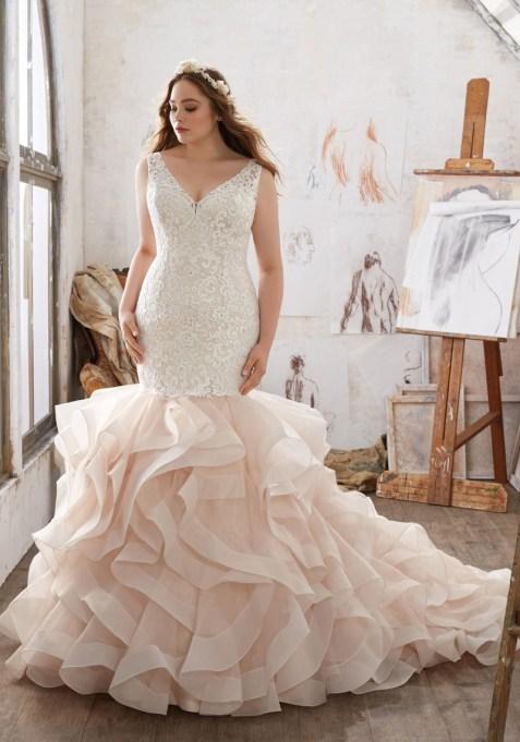Trumpet Skirt with Organza Ruffles Wedding Dress