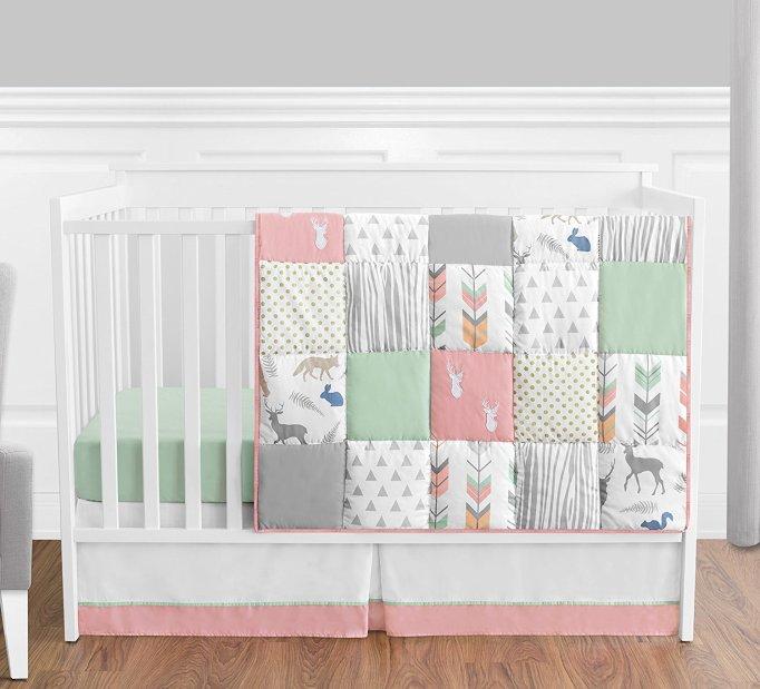 Girls' Woodland Crib Bedding