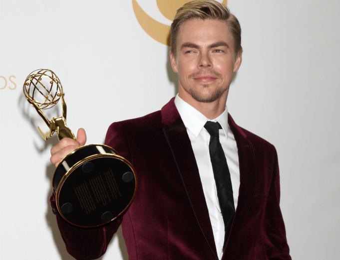 Derek Hough with his Emmy award