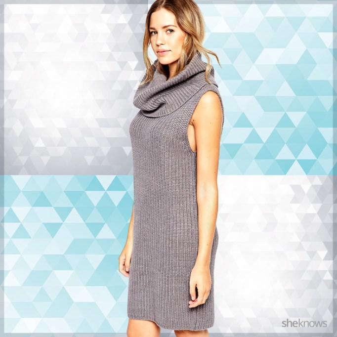 Sleeveless cowl neck sweater dress