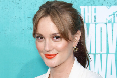 Leighton Meester with orange lips