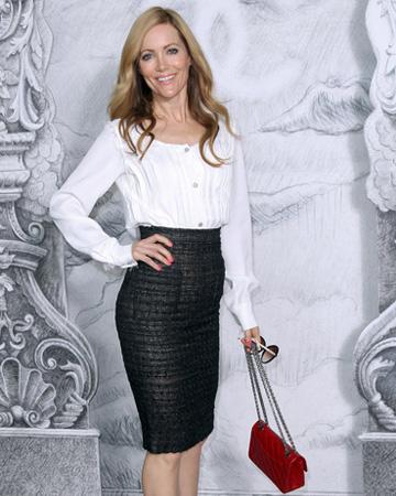 Leslie Mann wearing white and black