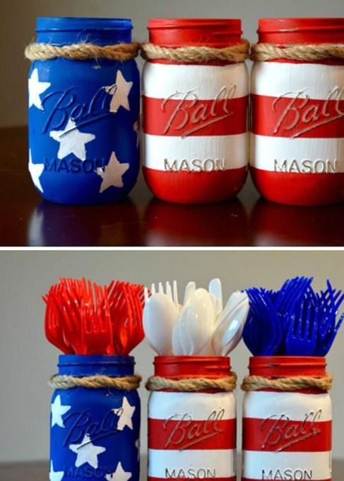 Mason jar Fourth of July cutlery holder