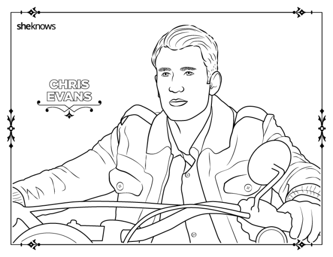 Chris Evans coloring-book apge