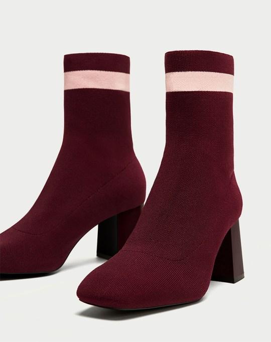 Fall fashion trends: Zara Striped High-Heel Sock Boot | Fall Fashion 2017