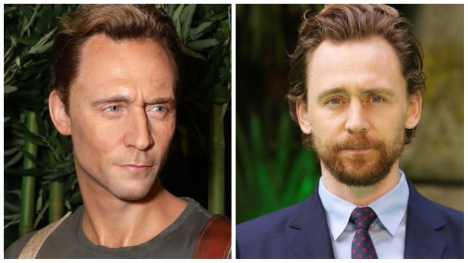 Tom Hiddleton and his wax figure
