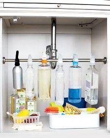 Curtain rod sink storage
