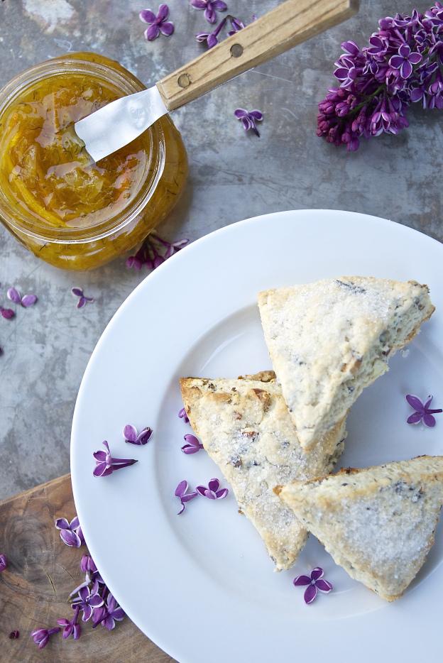 lilac blossom and almond scones
