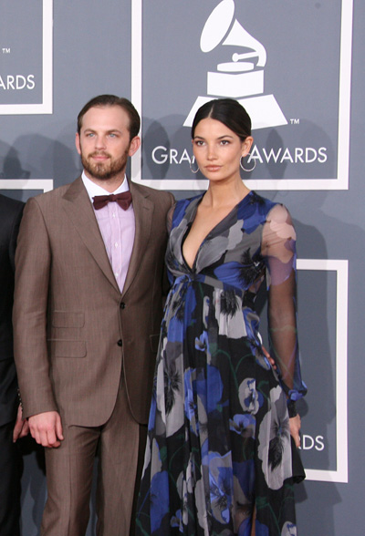 Pregnant Lily Aldridge and Caleb Followill at Grammy Awards