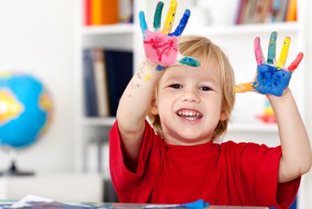 Little boy with handprint Valentin's handprint craft